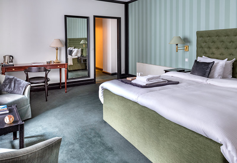Grønt deluxe dobbelt værelse med dobbeltseng
